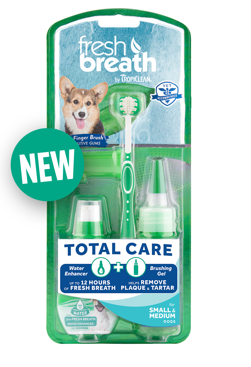 Fresh Breath by TropiClean No Brushing Clean Teeth Dental & Oral Total Care Kit for Small & Medium Dogs Fights Plaque & Tartar - Made in U.S.A.