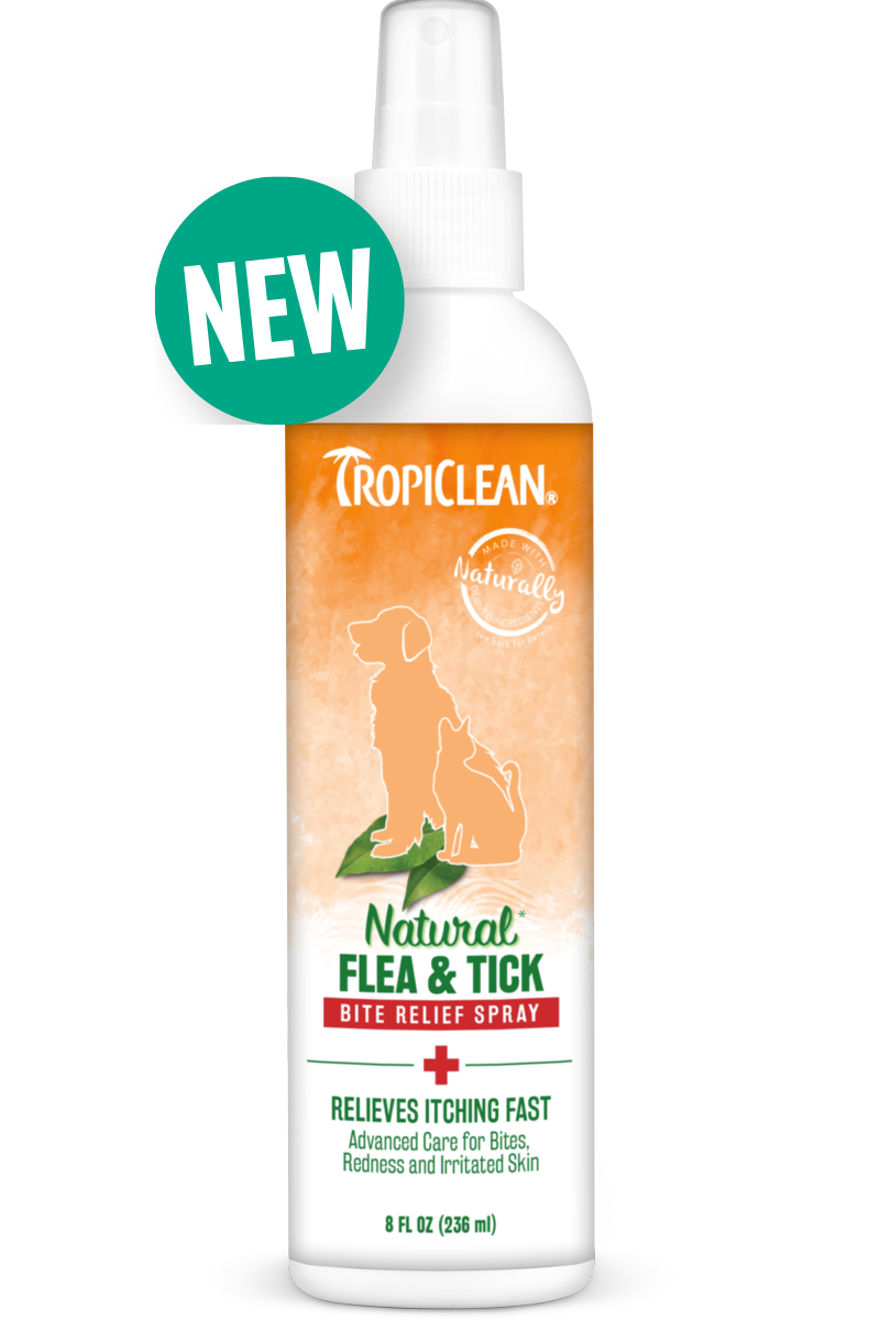 TropiClean Natural Flea & Tick Bite Relief Spray for Dogs and Cats, Relieves Itching Fast!